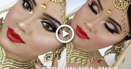 Südasiatisches Braut Makeup | Nikah | Gold Smokey Eyes mit roten Lippen – #a …