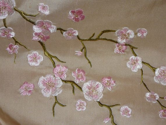 Recycled Embroidered Dupioni Silk Fabric - Tan with Pink Cherry Blossoms