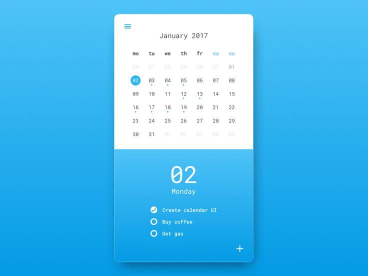 Calendar UI by João Gonçalves