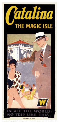 I've always had a thing for vintage styled travel posters & postcards. I have a collection of Catalina stuff from our honeymoon. This would be great! Santa Catalina, California, Casino, 1926