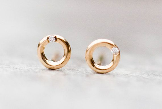 14k open circles earrings with diamonds yellow gold by ARPELC