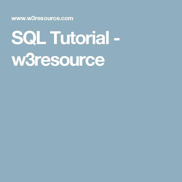 SQL Tutorial - w3resource