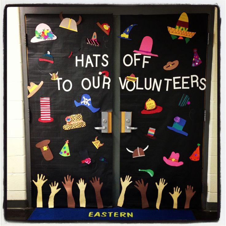 """""""Hats off to our volunteers"""" door display"""
