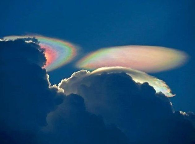 "This ""fire rainbow,"" or iridescent cloud, was captured in a photo taken on Tuesday (July 31) over South Florida.Lights, Sky, Double Rainbows, Weather, Iridescent Clouds, Nature Beautiful, Water Droplets, Fire Rainbows, South Florida"