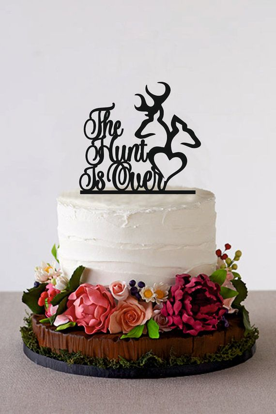 The Hunt Is Over Wedding Cake Topper is a perfect decoration to make your wedding original and unique. Custom Cake Topper is handmade and will