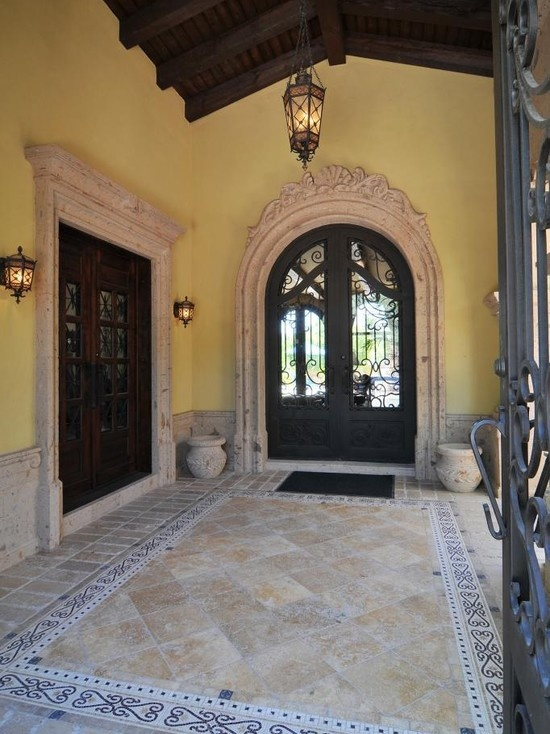 Love the door wall color the blue white border and the for Mediterranean style entry doors
