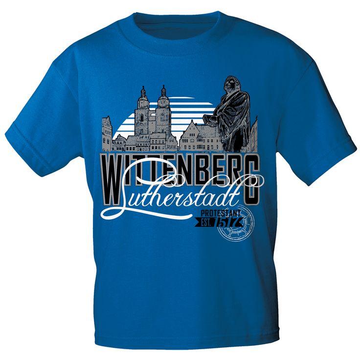 T-Shirt, royalblau, mit Aufdruck Lutherstadt Wittenberg