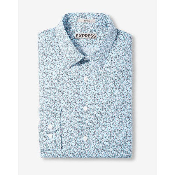 Express Fitted Small Floral Print Dress Shirt ($70) ❤ liked on Polyvore featuring men's fashion, men's clothing, men's shirts, blue, express mens clothing, express mens shirts, mens floral shirts, men's flower print shirt and mens floral dress shirts