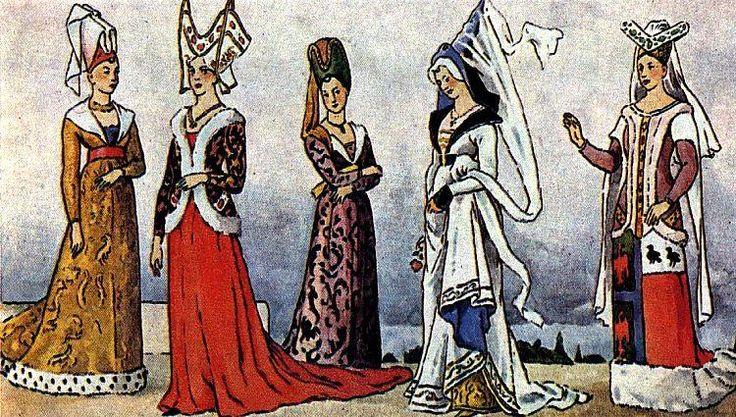 Костюм зпадной европы средневековья готика в картинках