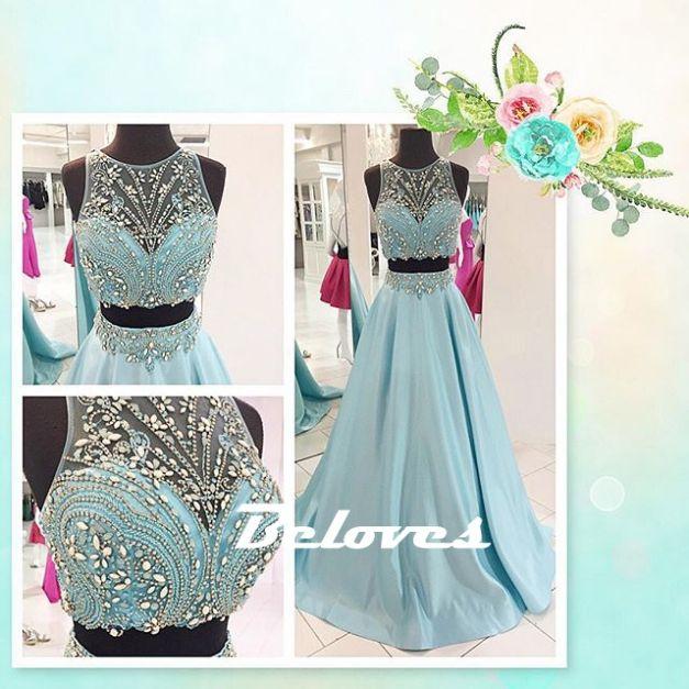 Prom Dress, Blue Dress, Two Piece Dress, Two Piece Prom Dress, Crop Top Dress, Blue Prom Dress, Satin Dress, Beaded Dress, Sleeveless Dress, Dress Prom, Dress Blue, Ice Blue Dress, Crop Dress