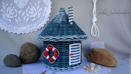 """Детская ручной работы. Ярмарка Мастеров - ручная работа. Купить Плетёный домик """"Морячок"""". Handmade. Тёмно-синий, подарок для мальчика"""