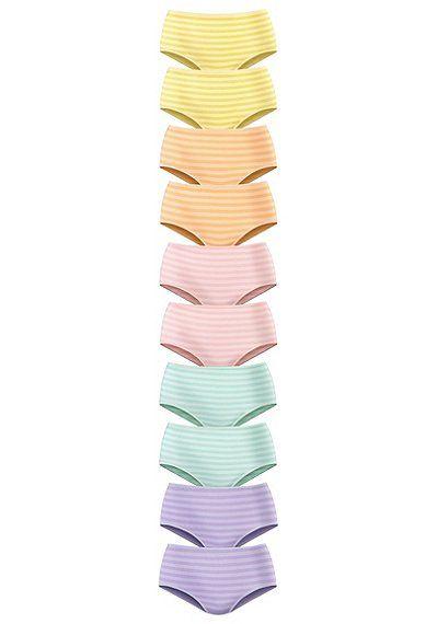 GO IN Taillenslip (10 Stück) – gestreift lila + gelb + grün + orange + rosa