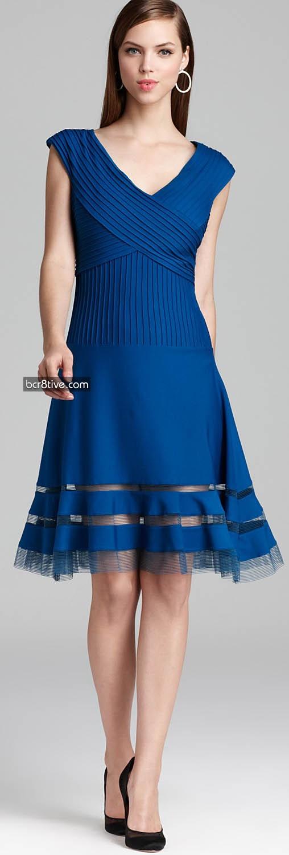 Tadashi Shoji Dress - Cap Sleeve V Neck Horsewire Hem