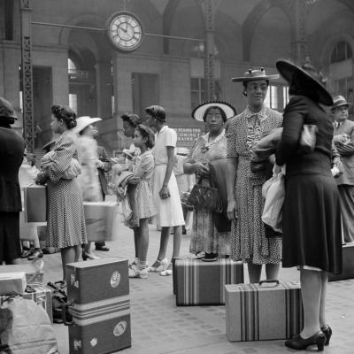 "vintageeveryday: "" Women waiting for their trains at the Pennsylvania railroad station, New York City, 1942. """