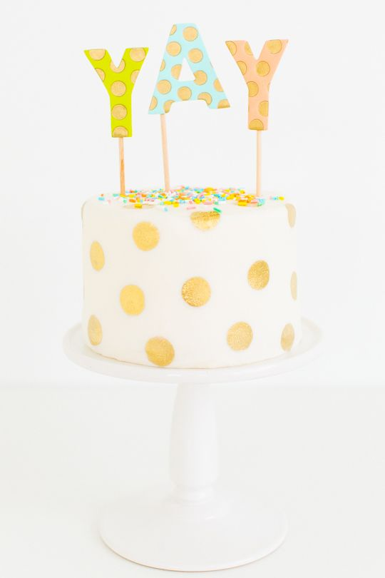 DIY gold polka dot cake | sugar & cloth