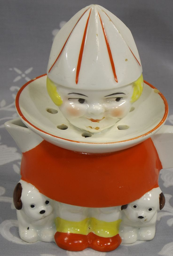 Goebel red dress girl with 2 puppies juicer