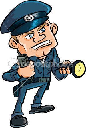 Guardia de seguridad con linterna. Dibujo animado.