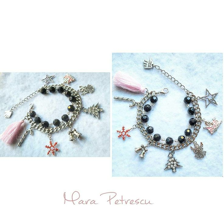 Black and pink handmade Christmas bracelet💞❄