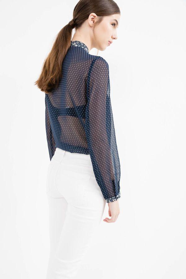 £: Blusa semitrasparente stampa a pois - dietro