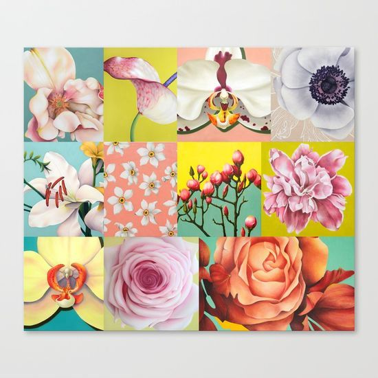 Collection / collage of flowers oil paintings