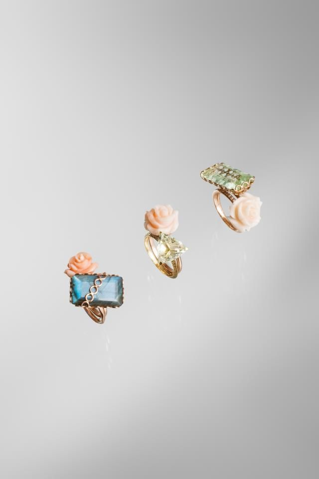 Lito carved coral and gemstone rings. Cocktail! Selection available @ WHITE bIRD Jewellery.
