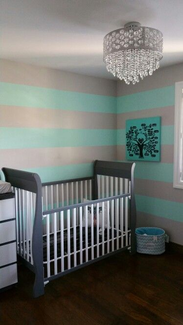 TURQUOISE & GREY boys nursery:  Our AFTER of repainting the walls and repainting an old plain crib and old furniture!  Make sure to use baby-safe paint!!!