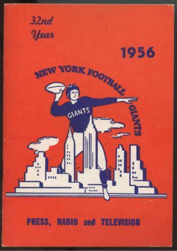 1956 NFL Champion NY Giants Press Radio TV Football Media Guide #nyg