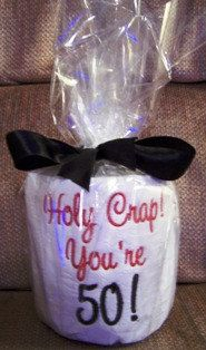 50th Birthday Embroidered Toilet Paper $9.95