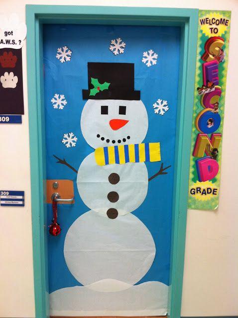 snowman door decoration apex elementary art december 2011