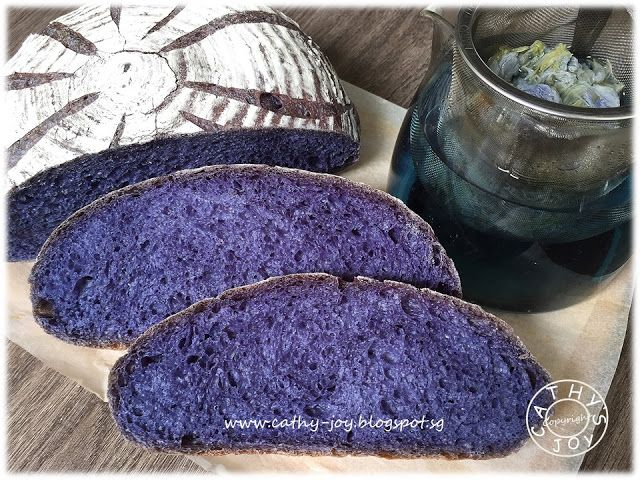 cathy's joy: Blue Pea Bread 蝶豆花面包