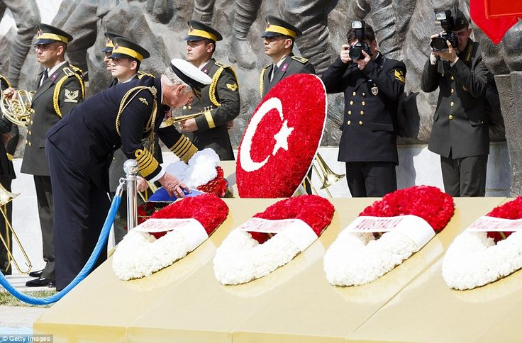 Prince Charles lays a wreath at the Canakkale Turkish Martyrs' Memorial Abide during the International Service held there earlier today