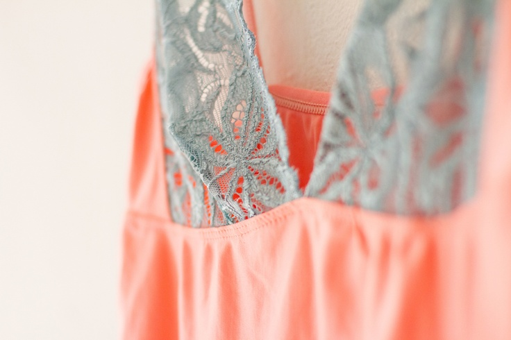 Coral Slip. Cute and comfortable coral slip with blue lace detail.