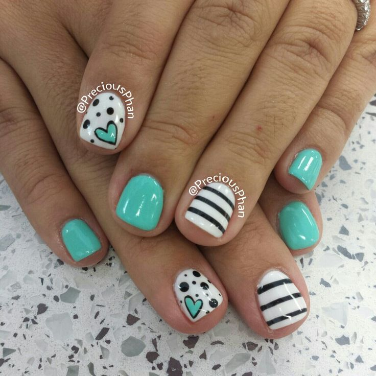Mint nails, with hearts and polka dots