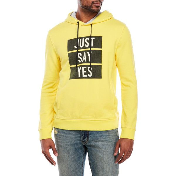 Marc By Marc Jacobs Yellow Just Say Yes Hoodie ($120) ❤ liked on Polyvore featuring men's fashion, men's clothing, men's hoodies, yellow, mens hoodies, mens yellow hoodie, mens sweatshirts and hoodies, mens hoodie and mens hooded sweatshirts