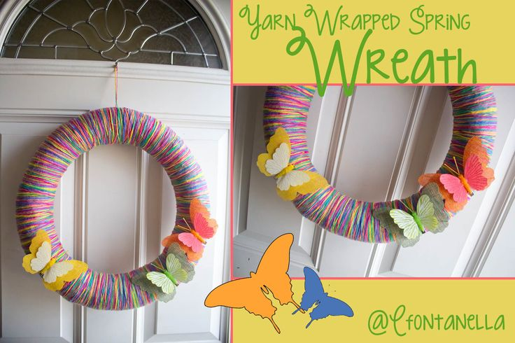 A spring wreath I created.....multicolored yarn...straw wreath base...butterfly clips (all found at local craft store)....12 dollars!!! So easy!