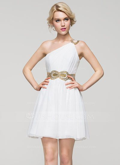 A-Line/Princess One-Shoulder Short/Mini Chiffon Cocktail Dress With Ruffle Beading Sequins (016094602)
