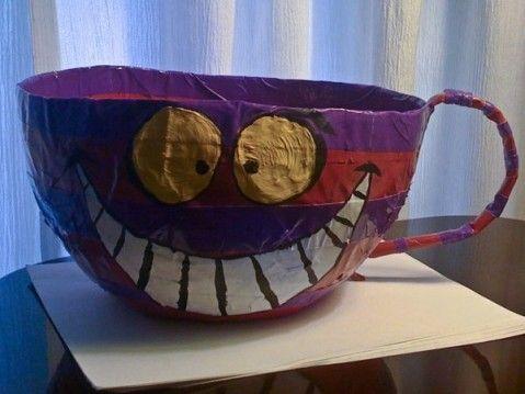 Paper Mache Alice in Wonderland Cheshire Cat Tea Cup  