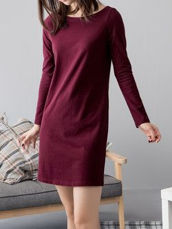 Burgundy Cotton Long Sleeve Sweater Dress