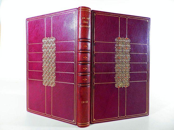 Johannes Raff DER ZERSTÖRER ° Leder Gold ° Jugendstil Art Nouveau Erstausgabe