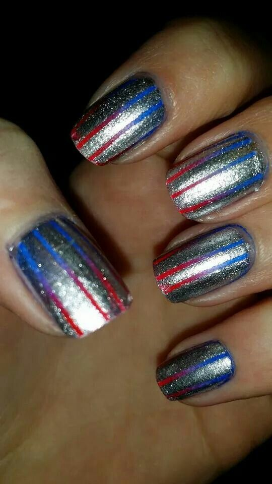 Red to blue fade with silver stripes over the top nail art fourth of July Memorial day veteran's day