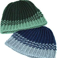 I really like this hat for men.  The Reversible Strands  free crochet pattern can be found on Ravelry