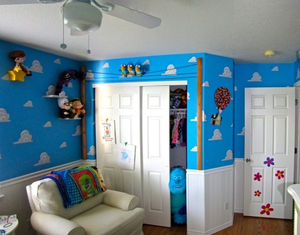"""Pixar Themed Nursery, For our first baby, we wanted to touch on everything Pixar. While the room screams Toy Story, we actually referenced all of the movies and some Pixar shorts., This image captures another one of our favorite Pixar references in the room; The birds from """"For The Birds.""""  , Nurseries Design"""