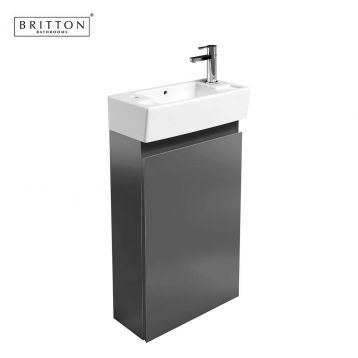 Britton Narrow Floorstanding Unit and Washbasin #Grey #Bathrooms #Square #Contemporary from www.ukbathrooms.com