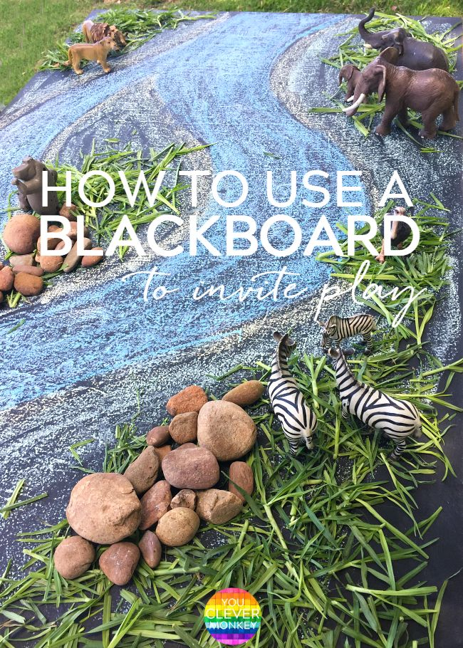 How to Create A Small World Invitation Using a Blackboard - turn your chalkboard into an inviting place for some pretend play | you clever monkey