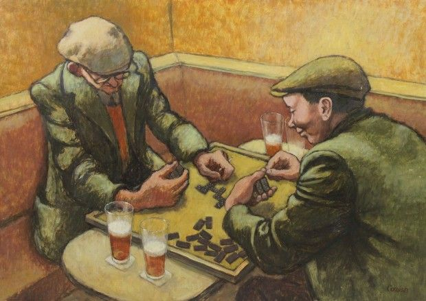 Men Playing Dominoes  by Norman Cornish