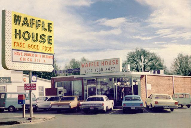 The first Waffle House opened on Labor Day weekend, 1955 at 2719 East College Avenue in Avondale Estates, Georgia.