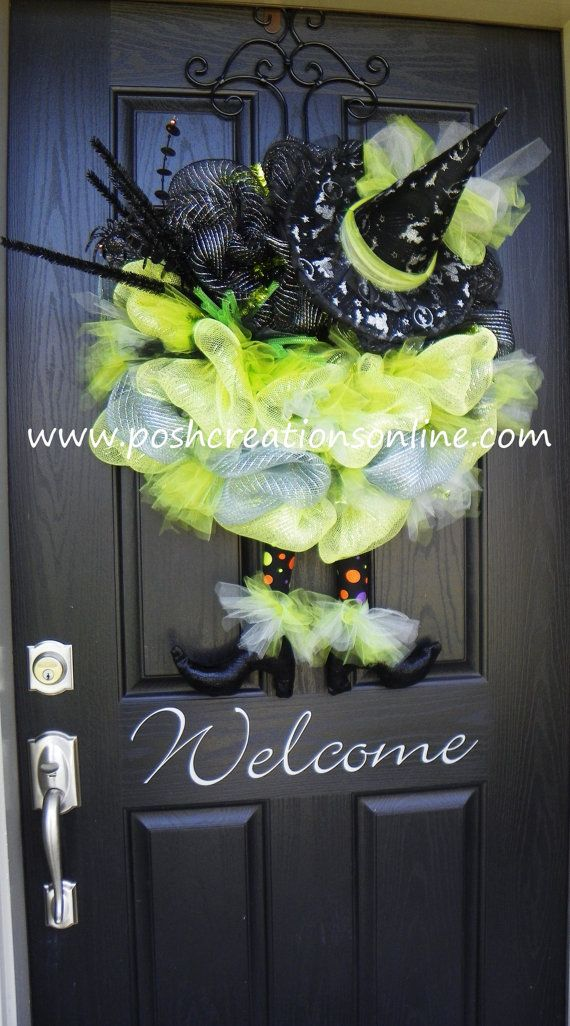 Halloween Spider Witch Wreath Black and Green