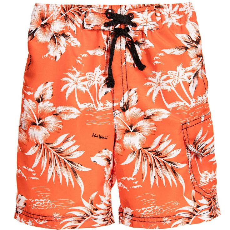 Mitty James Boys Orange Hawaiian Swim Shorts at Childrensalon.com