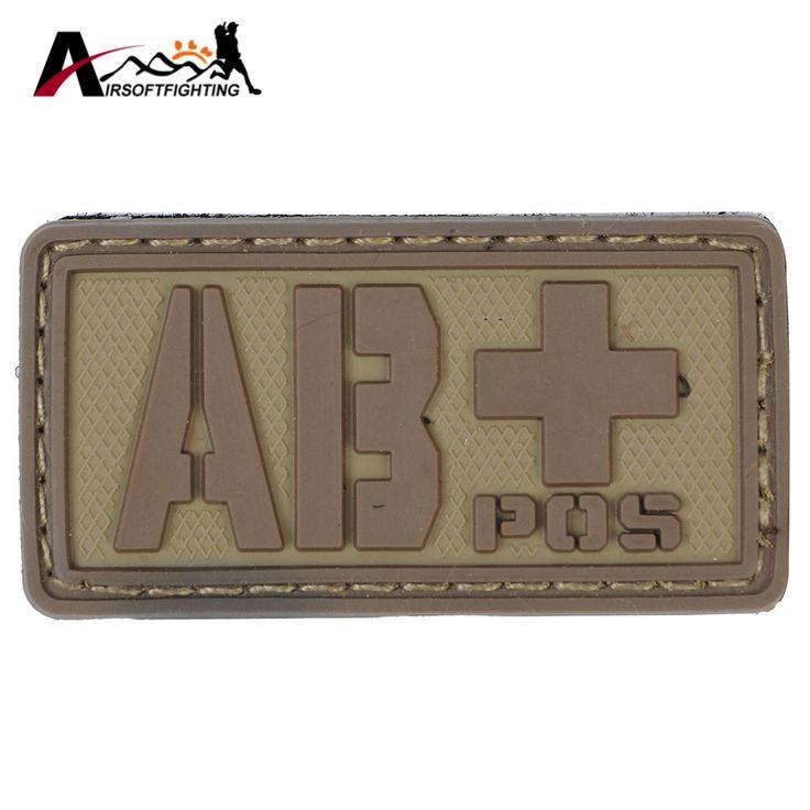ABPOS Blood Type Patch Military Rescue Blood Type PVC 3D Rubber  Paramedic Patch Badge Tactical Vest Helmet Bag Patches#