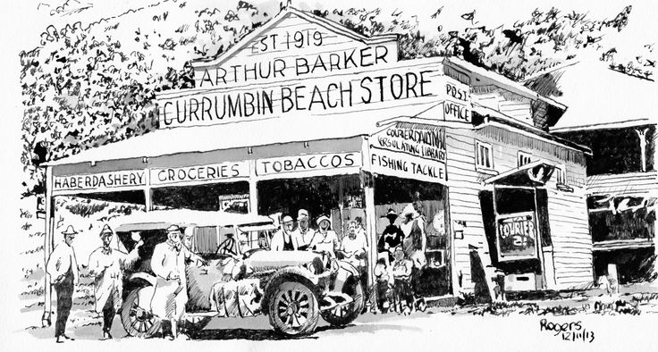 The famous Currumbin Beach Store owned by Arthur Barker and built in 1919. The old car out the front obviously drew a crowd at the time. So I am guessing the original photo was taken around 1925-30.